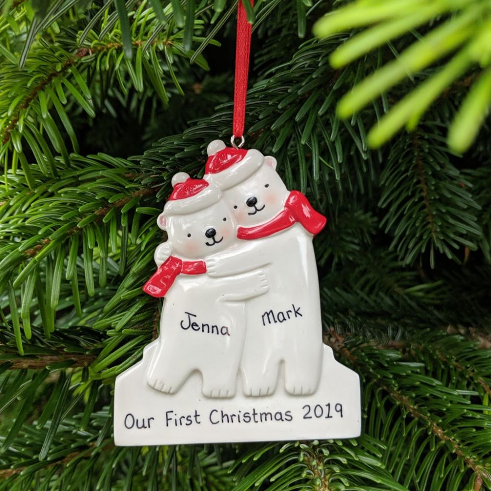 Personalised Polar Bear Couple Christmas Tree Decoration